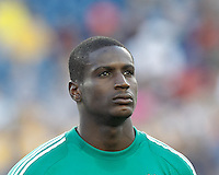 D.C. United goalkeeper Bill Hamid (28). In a Major League Soccer (MLS) match, the New England Revolution (blue) tied D.C. United (white), 0-0, at Gillette Stadium on June 8, 2013.