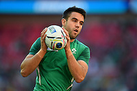 Conor Murray of Ireland with the ball during the pre-match warm-up. Rugby World Cup Pool D match between Ireland and Romania on September 27, 2015 at Wembley Stadium in London, England. Photo by: Patrick Khachfe / Onside Images