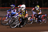 Heat 2: Ludvig Lindgren (white), Paul Hurry (red), Daniel Davidsson (blue) and Joe Haines (yellow) - Lakeside Hammers vs Wolverhampton Wolves, Elite Shield Speedway at the Arena Essex Raceway, Purfleet - 26/03/10 - MANDATORY CREDIT: Rob Newell/TGSPHOTO - Self billing applies where appropriate - 0845 094 6026 - contact@tgsphoto.co.uk - NO UNPAID USE.