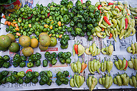 Chiles habanero at the Mercado Lucas Galvez, market. Merida, Yucatan, Mexico