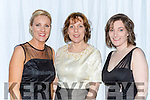 Frances O'Sullivan, Susan Healy and Noreen Cooper at the Kerry GAA gala ball in the INEC on Saturday night