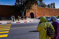Morocco, Marrakesh. Women outside the city walls.