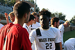 26 August 2016: Wake Forest's Ema Twumasi (GHA) (22) and Andreu Cases Mundet (ESP) (1) before the game. The Wake Forest University Demon Deacons hosted the Saint Louis University Billikens in a 2016 NCAA Division I Men's Soccer match. SLU won the game 1-0.