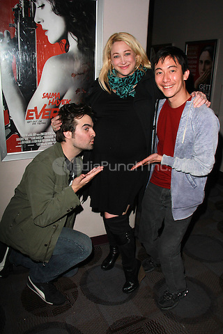 "BEVERLY HILLS, CA - FEBRUARY 28: Jennifer Blanc-Biehn, Joe Lynch, Akie Kotabe at the ""Everly"" Opening Weekend Splatter-Ganza at Laemmle's Music Hall, Beverly Hills, California on February 28, 2015. Credit: David Edwards/DailyCeleb/MediaPunch"