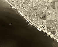 historical aerial photograph Huntington Beach, California, 1963