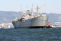 The S.S. Jeremiah O'Brien is escorted back to its berth after taking passengers on a day long cruise through San Francisco Bay during the 2008 San Francisco Fleet Week activities. A floating memorial to the Merchant Marine's and Navy sailors that carried the supplies across both oceans during the World War II the SS Jeremiah O'Brien is one of the few remaining Liberty Ships still operational. The Jeremiah O'Brien was used in the movie Titanic and participated in the invasion of Normandy.