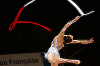 Anna Bessonova of Ukraine waves with ribbon during event finals at 2006 Thiais Grand Prix in Paris, France on March 26, 2006.  (Photo by Tom Theobald)<br />