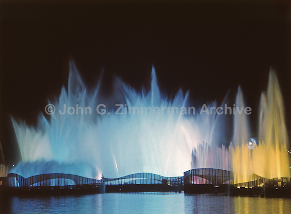 1964 World's Fair, Flushing Meadows, New York. The Fair held a dazzling fireworks show with fountains and light each night. Photo by John G. Zimmerman.