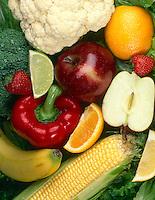 BASIC FOOD GROUP - FRUITS &amp; VEGETABLES<br /> Apple, Strawberries, Bananas, Lime, Orange, Cauliflower, Red Pepper, Corn, Lettuce