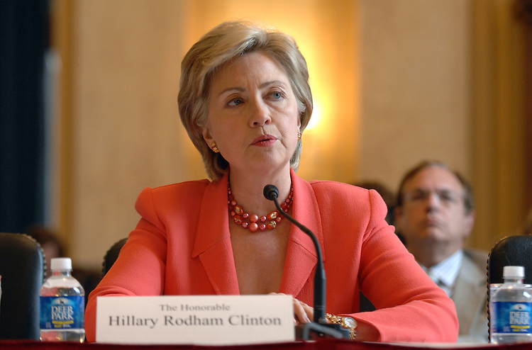 """Sen. Hillary Clinton, D-N.Y., testifies at a hearing on the """"Ballot Integrity Act,"""" which provides new safeguards to prevent errors and tampering at the polls among other measures to ensure voting accuracy."""