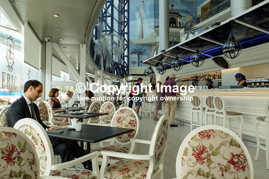 First floor bar &amp; coffee shop, El Corte Ingles, Puerto Banus. April 2017<br />