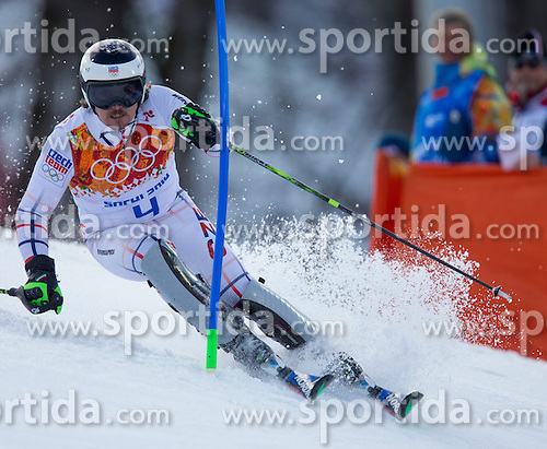 14.02.2014, Rosa Khutor Alpine Center, Krasnaya Polyana, RUS, Sochi 2014, Super- Kombination, Herren, Slalom, im Bild Ondrej Bank (CZE) // Ondrej Bank of Czech Republic in action during the Slalom of the mens Super Combined of the Olympic Winter Games 'Sochi 2014' at the Rosa Khutor Alpine Center in Krasnaya Polyana, Russia on 2014/02/14. EXPA Pictures © 2014, PhotoCredit: EXPA/ Johann Groder