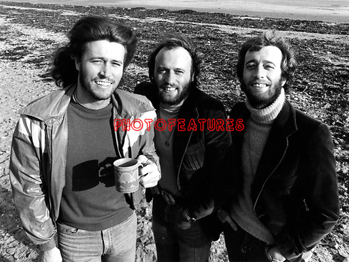 Bee Gees 1976 Barry Gibb, Maurice Gibb and Robin Gibb on the Isle Of Man