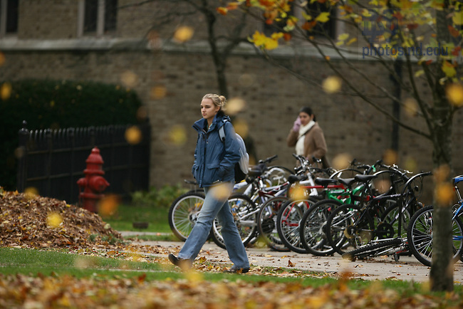 Students walking on North Quad