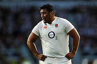 Mako Vunipola of England looks on during a break in play. QBE International match between England and France on August 15, 2015 at Twickenham Stadium in London, England. Photo by: Patrick Khachfe / Onside Images