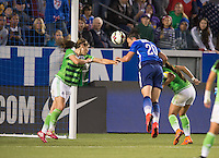 Carson, Ca - Sunday, May 17, 2015: The USWNT defeated Mexico 5-1 at StubHub Center during an international friendly.  Abby Wambach scores on a header.
