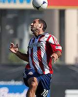 Santa Clara, California - Sunday May 13th, 2012: Nick LaBrocca of Chivas USA goes up for a header during a Major League Soccer match against San Jose Earthquakes at Buck Shaw Stadium