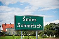 Bilingual Polish - German city sign from Smicz - Schmitsch, former German Oberschlessien (Upper Silesia), Modern Prudnik, Poland