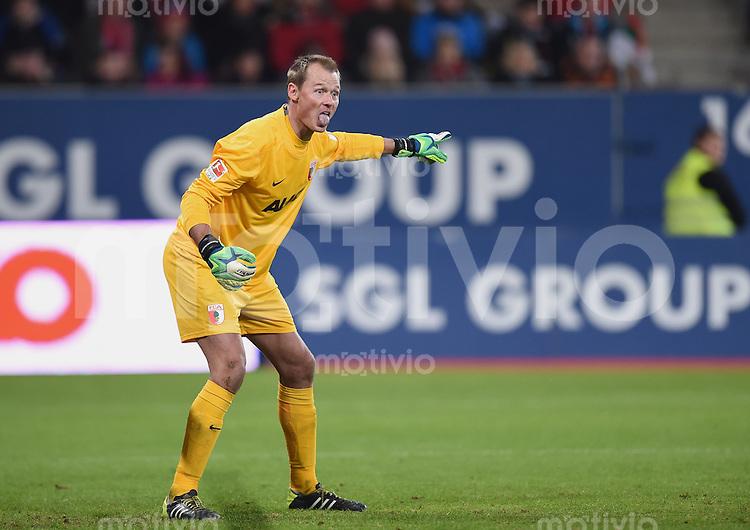 Fussball  1. Bundesliga  Saison 2014/2015  15. Spieltag  FC Augsburg - FC Bayern Muenchen     13.12.2014 Torwart Alexander MANNINGER (FC Augsburg)