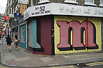 Middlesex Street East End London E1. Alphabet Street project on shop shutters work by street artist Ben Eine (real name Ben Flynn).