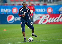 22 May 2010: New England Revolution defender Corey Gibbs #12 during the warm-up in a game between the New England Revolution and Toronto FC at BMO Field in Toronto..Toronto FC won 1-0.....