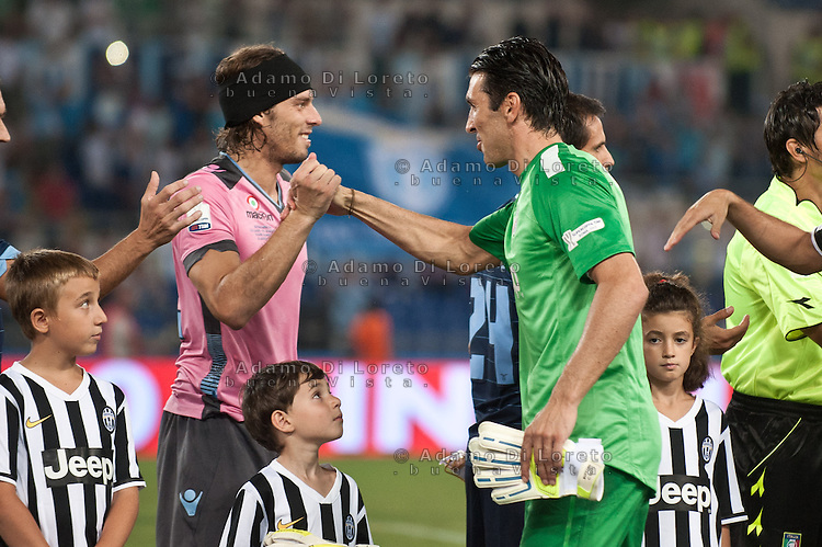 Juventus beat Lazio 4-0 in the Italian Supercoppa final match in Rome, Italy, on August 18, 2013. In the photo: Federico Marchetti Lazio - Gianluigi Buffon Juventus. Photo: Adamo Di Loreto/BuenaVista*photo