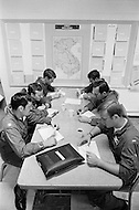 June 1972, Guam --- The Andersen Air Force Base on Guam Island from where the B-52 Stratofortress planes take off for Vietnam. A B-52 crew attend a briefing before a mission over Vietnam. --- Image by © JP Laffont/Sygma/Corbis