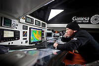 "Transat Jacques Vabre 2011. Le Havre. France.Pictures of Mike Golding on board ""Gamesa"" during the race start today"