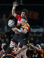 Crusaders' Samuel Whitelock and Chiefs' Brodie Retallick fight for the ball in a lineout in a Super Rugby match, Waikato Stadium, Hamilton, New Zealand, Friday, July 06, 2012.  Credit:SNPA / David Rowland