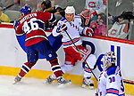4 December 2008: New York Rangers' right wing forward Fredrik Sjostrom from Sweden is checked by Montreal Canadiens' left wing forward Andrei Kostitsyn (46) from Belarusse at the Bell Centre in Montreal, Quebec, Canada. The Canadiens, celebrating their 100th season, played in the circa 1915-1916 uniforms for the evenings' Original Six matchup. The Canadiens defeated the Rangers 6-2. *****Editorial Use Only*****..Mandatory Photo Credit: Ed Wolfstein Photo