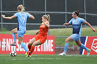 Piscataway, NJ - Saturday May 20, 2017: Nikki Stanton, Kealia Ohai, Erin Simon during a regular season National Women's Soccer League (NWSL) match between Sky Blue FC and the Houston Dash at Yurcak Field.  Sky Blue defeated Houston, 2-1.