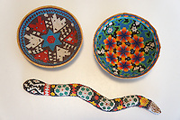 Huichol Indian beaded snake and  bowls made from gourds, Mexico