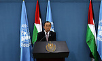"""United Nations Secretary General Ban Ki-moon speaks during a joint press conference with Palestinian president after a meeting on June 28, 2016 in the West Bank city of Ramallah. Ban urged Israeli Prime Minister Benjamin Netanyahu to take """"courageous steps"""" toward peace as he visited Israel and the Palestinian territories. Photo by Shadi Hatem"""