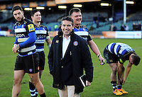 Bath Rugby Head Coach Mike Ford is all smiles after the match. Aviva Premiership match, between Bath Rugby and London Irish on March 5, 2016 at the Recreation Ground in Bath, England. Photo by: Patrick Khachfe / Onside Images