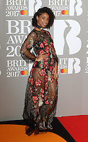 Lianne La Havas at The BRIT Awards 2017 at The O2, Peninsula Square, London on February 22nd 2017<br /> CAP/ROS<br /> &copy; Steve Ross/Capital Pictures /MediaPunch ***NORTH AND SOUTH AMERICAS ONLY***