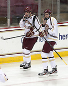 Patrick Wey (BC - 6), Travis Jeke (BC - 8) - The Boston College Eagles tied the visiting Yale University Bulldogs 3-3 on Friday, January 4, 2013, at Kelley Rink in Conte Forum in Chestnut Hill, Massachusetts.