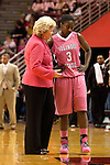 12 February 2012:  Stephanie Glance speaks with Candace Sykes during an NCAA women's basketball game Where the Bradley Braves lost to the Illinois Sate Redbirds 82-63.  It was Play 4Kay day in honor of the cancer research fund set up by Coach Kay Yow at Redbird Arena in Normal IL