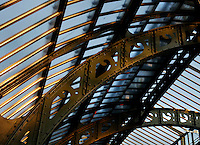 Plant History Glasshouse (formerly Australian Glasshouse), 1830s, Rohault de Fleury, Jardin des Plantes, Museum National d'Histoire Naturelle, Paris, France. Low angle view of the glass and iron roof lit by the late afternoon light, seen from the first floor.