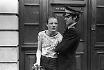 Policeman arrests a Punk in the Kings Road, Chelsea, London England.  June 1977.