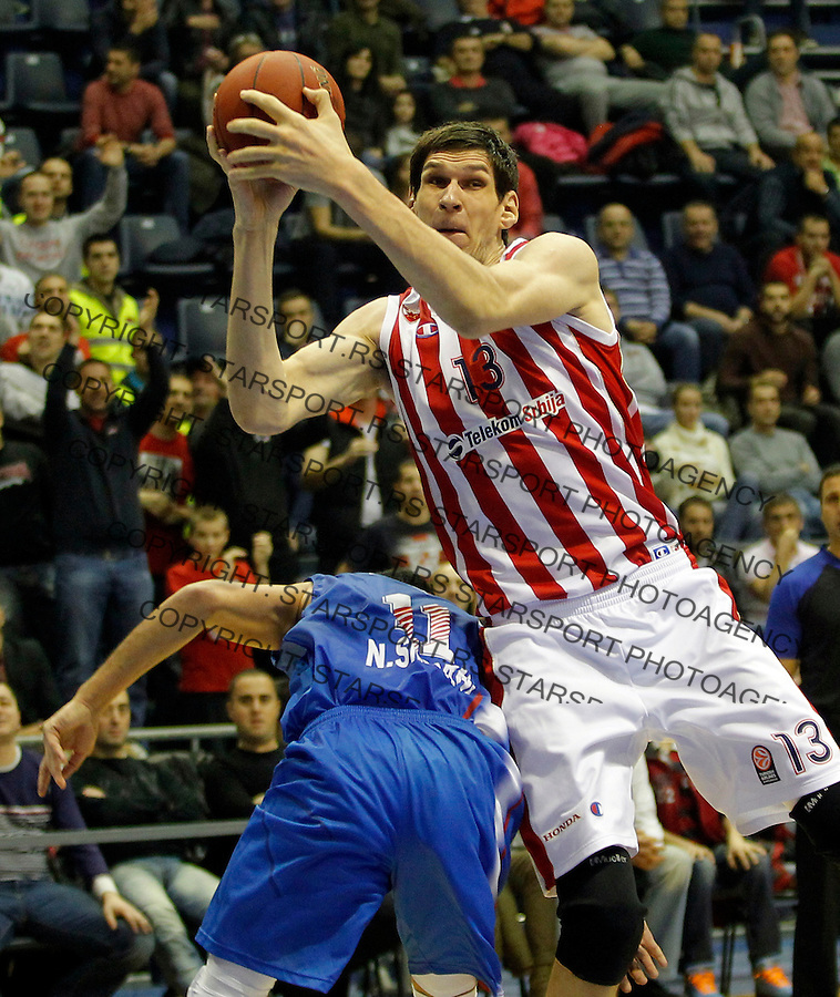 Boban Marjanovic Eurocup basketball game between Crvena Zvezda and Panionios in Pionir Arena on January 22, 2014. in Belgrade, Serbia (credit image & photo: Pedja Milosavljevic / STARSPORT / +318 64 1260 959 / thepedja@gmail.com)