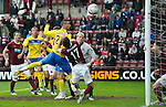 Hearts v St Johnstone....06.05.12   SPL.Marcus Haber heads wide.Picture by Graeme Hart..Copyright Perthshire Picture Agency.Tel: 01738 623350  Mobile: 07990 594431
