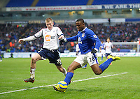 BOLTON, ENGLAND - Saturday, January 26, 2013: Everton's Victor Anichebe in action against Bolton Wanderers' Josh Vela during the FA Cup 4th Round match at the Reebok Stadium. (Pic by David Rawcliffe/Propaganda)