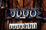 Calico Ghost Town horseshoes on side of wood building Barstow California USA
