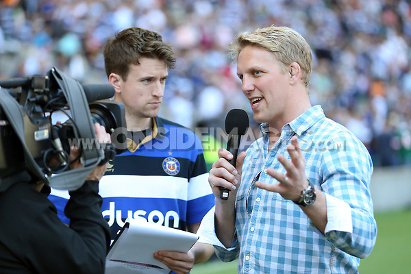 Greg James and Lewis Moody entertain the crowd at half-time. The Clash, Aviva Premiership match, between Bath Rugby and Leicester Tigers on April 8, 2017 at Twickenham Stadium in London, England. Photo by: Rogan Thomson / JMP for Onside Images