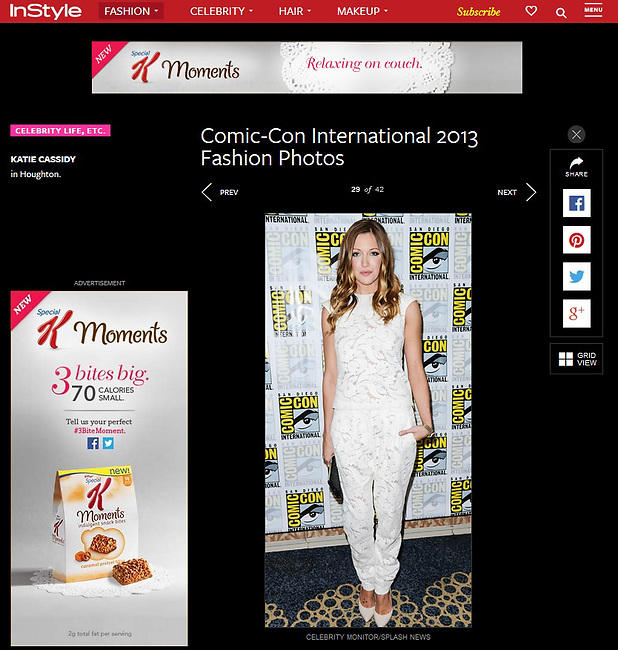 SAN DIEGO, CA - JULY 20: Actress Katie Cassidy attends Entertainment Weekly's Annual Comic-Con Celebration at Float at Hard Rock Hotel San Diego on July 20, 2013 in San Diego, California. (Photo by Celebrity Monitor)