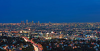 LA. CA; Skyline; Cityscape; dusk; night; car tail lights streaking; Los Angeles; Panorama; after sunset; beautiful Background