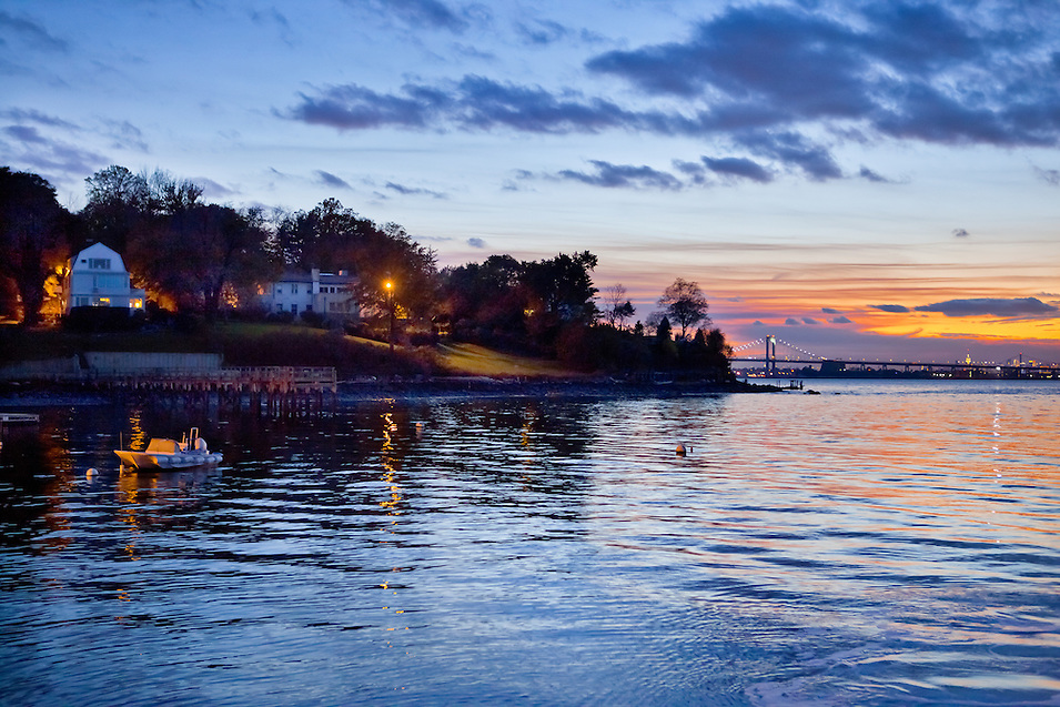 Dusk at Kings Point, Long Island, with the New York City skyline in the background. Photographed from a boat in the Long Isand Sound.