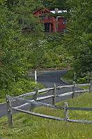 winding road to summer vacation home Little Lake Sunapee area, NH, USA