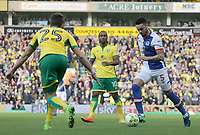 Blackburn Rovers' Derrick Williams tries to get round Norwich City's Ivo Pinto<br /> <br /> Photographer David Shipman/CameraSport<br /> <br /> The EFL Sky Bet Championship - Norwich City v Blackburn Rovers - Saturday 11th March 2017 - Carrow Road - Norwich<br /> <br /> World Copyright &copy; 2017 CameraSport. All rights reserved. 43 Linden Ave. Countesthorpe. Leicester. England. LE8 5PG - Tel: +44 (0) 116 277 4147 - admin@camerasport.com - www.camerasport.com