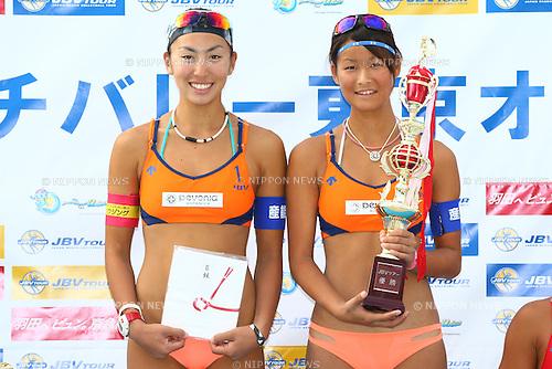 Chiyo Suzuki &amp; Satono Ishitsubo,<br /> SEPTEMBER 21, 2015 - Beach Volleyball : <br /> JBV Tour 2015 Tokyo Open<br /> Women's Award Ceremony<br /> at Odaiba Beach, Tokyo, Japan.<br /> (Photo by Shingo Ito/AFLO SPORT)